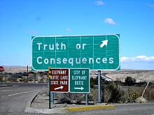 a sign points to Truth or Consequences