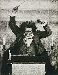 The gifted Beethoven is highly energized at the podium.