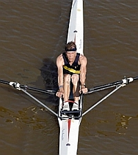 Christopher Coulson sculls his single in a race