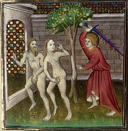 Adam and Eve are driven out from Eden by an angry angel with a sword.