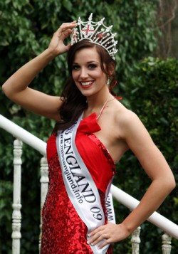 A Miss England winner who is a soldier in a red dress