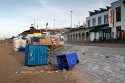 Upturned wheelie bins are the sign that vandals have been to the beach